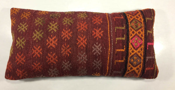 "12""x24"" Kilim Pillow Cover Turkish Red Oblong Tribal Vintage Lumbar Cushion 937"