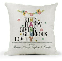 Personalised Cushion For Her, Nanny Gift.. Pretty Patchwork Flowers/Xmas Gift