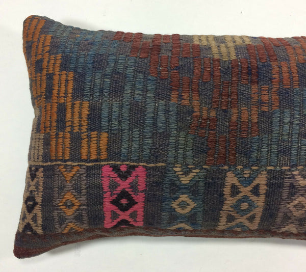 "12""x20"" Kilim Pillow Cover Turkish Vintage Handmade Wool Lumbar Cushion 1175"