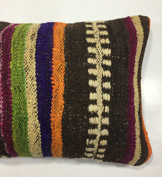 "12""x20"" Kilim Pillow Cover Vintage Turkish Handmade Anatolian Lumbar Cushion 867"