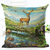 "18"" Farm Animal Linen Cotton Pillow Case Sofa Cushion Cover Sofa Car Decorative"