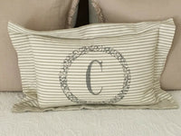 PILLOW HOME DECOR MONOGRAM C Khaki Cream Stripe Grey Wreath FARMHOUSE STYLE NEW