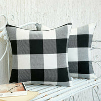 Pillow Covers Set of 2 Black and White Check Plaid Throw Farmhouse Decorative
