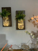 2 rustic Mason Jar farmhouse Hanging wall decor W/Lights - Wall Sconces.