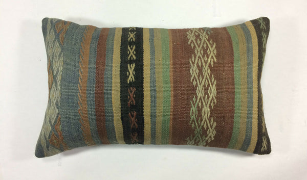 "12""x20"" Kilim Pillow Cover Turkish Vintage Rug Handmade Wool Lumbar Cushion 1216"