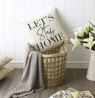 Let's Stay Home Farmhouse Housewarming Throw Pillow Cover Case Decoration