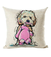 2 Set of Cute Pet Bichon Frise Dog Puppy Cotton Throw Pillow Cover Spring Decor
