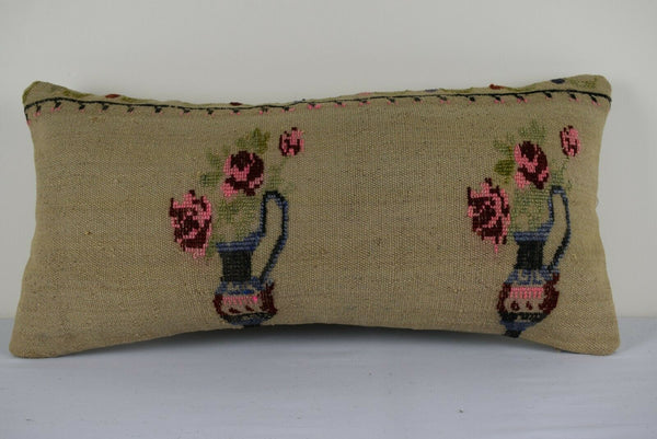 12 X 24'' Vintage French Decor Large Tapestry Aubusson Kilim Lumbar Pillow Cover