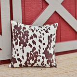 FAUX COW HIDE ACCENT PILLOW : PRINTED COWHIDE BROWN WHITE HIDE CABIN LODGE RANCH