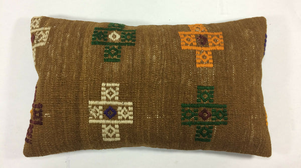 12x20 Kilim Lumbar Pillow Coverr Vintage Handwoven Turkish Wool Cushion 1195