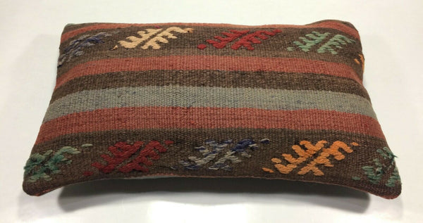 "12""x20"" Kilim Pillow Cover Vintage Turkish Handmade Tribal Lumbar Cushion 869"