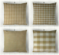 Cream Pillow Covers / Plaid Check Ticking Homespun / Farmhouse Rustic Country