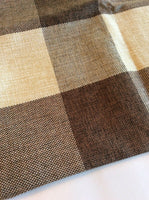 "NEW TOSS THROW PILLOW COVER CASE 17"" BROWN BEIGE TWEED CHECKED CANVAS FARMHOUSE"