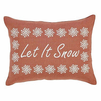 Red Farmhouse Holiday Decor VHC Let It Snow 14x18 Pillow Apple Red 14 x 18