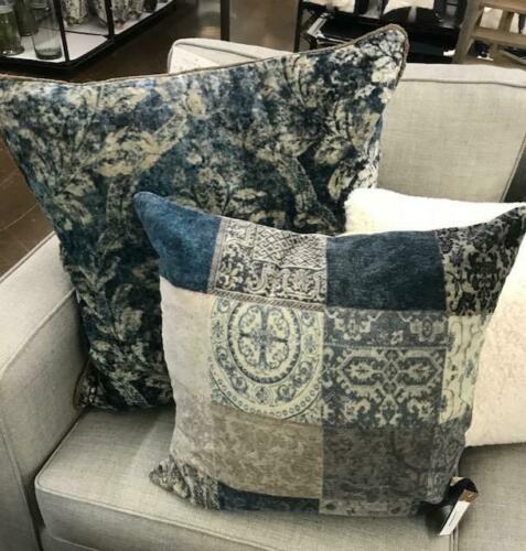Pottery Barn Claudine Pillow Cover Indigo Multi 24 Muted Farmhouse Blue