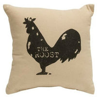 """ROOST"" Tabletop Pillow ""Black Rooster"" FARMHOUSE COUNTRY DECOR 10"" Filled"