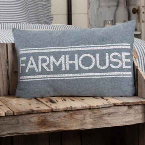 New SAWYER MILLS Farm House Word BLUE FARMHOUSE GRAIN SACK PILLOW Accent 22""
