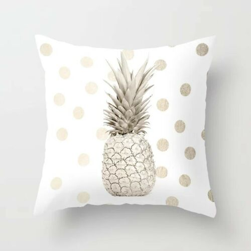 NIP Gold Pineapple Polka Dots Velvet Throw Pillow Cover Farmhouse Cottage Beach