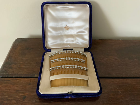 Fabulous Boxed Set of 3 19th Century Tortoishell & Paste Hair Combs