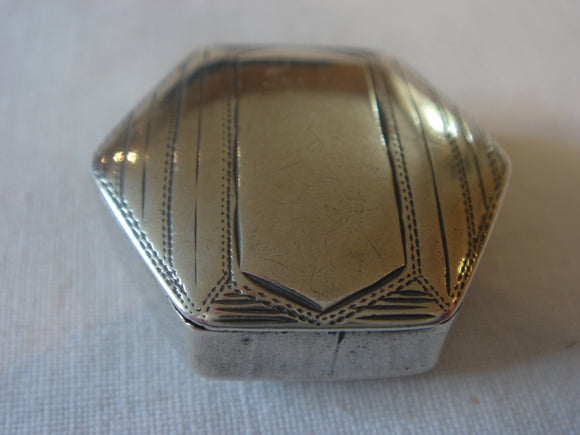Georgian Silver Patch Box- Hexagonal