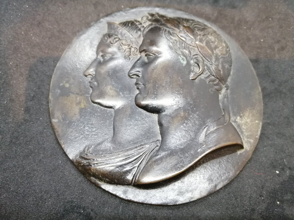Bronze Plaque of Napoleon & Marie Louise