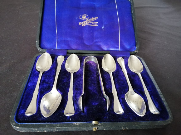 Scottish Fiddle Teaspoons & Tong (boxed)