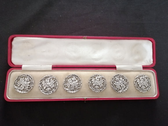 Six Silver Buttons - Boxed