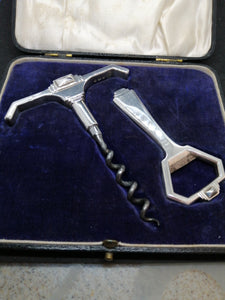 Art Deco Silver Corkscrew & Bottle Opener