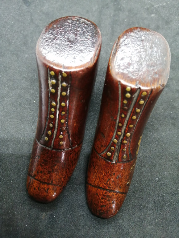 Pair Of Antique Treen Shoes
