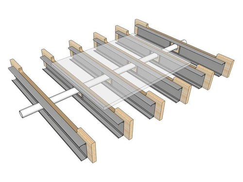 Skyline Building Solutions StrongBack Curbless Zero Entry shower joist reinforcer allows notching 2x10 and 2x12 Joists up to 2