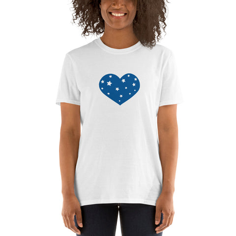 4th of July: (Blue Stars Heart) T-Shirt - Twin Carbon Clothing Co.