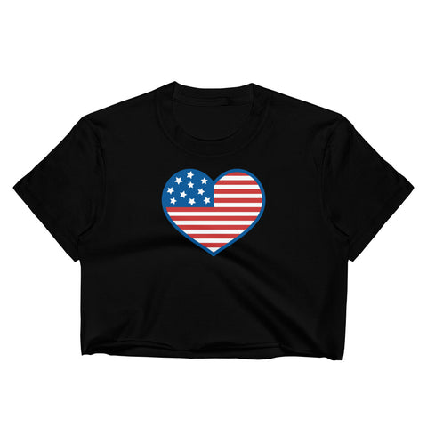 4th of July American Flag Heart Crop Top - Twin Carbon Clothing Co.