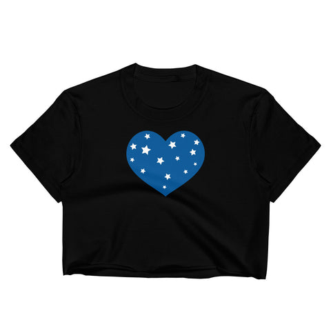 4th of July Blue Star Heart Women's Crop Top - Twin Carbon Clothing Co.