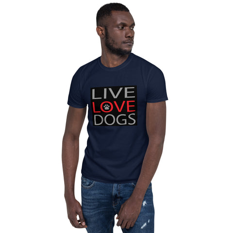 Dogs(Live Love Dogs CT1) Short-Sleeve Unisex T-Shirt - Twin Carbon Clothing Co.