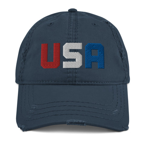 USA Distressed Dad Hat - Twin Carbon Clothing Co.