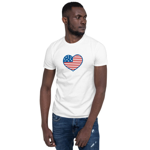 4th of July: (American Flag Heart) T-Shirt - Twin Carbon Clothing Co.
