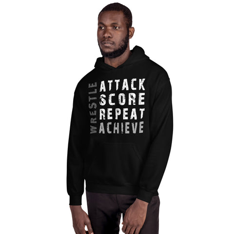 Wrestling Achieve Hoodie - Twin Carbon Clothing Co.
