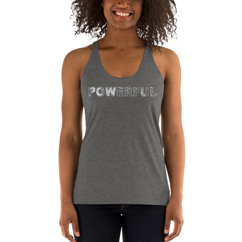 Powerful Women's Racerback Tank - Twin Carbon Clothing Co.