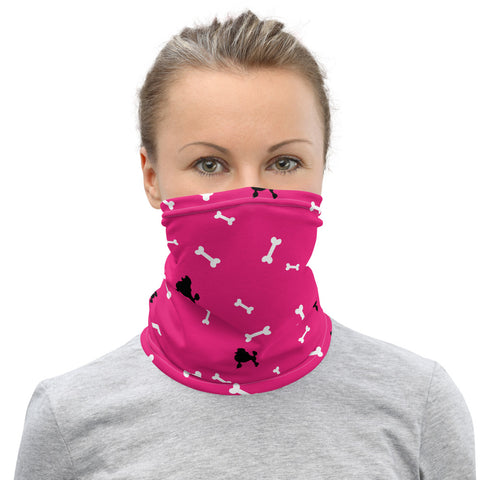 Dog Poodle and bones Neck Gaiter - Twin Carbon Clothing Co.
