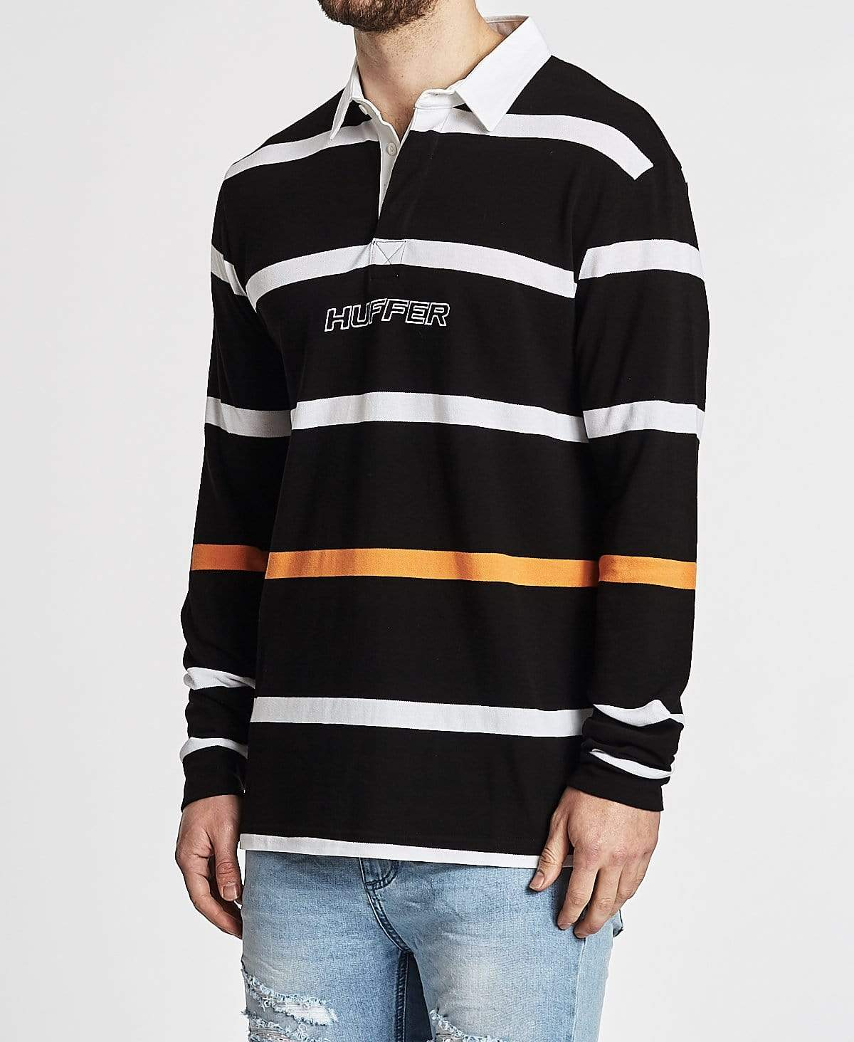 Huffer Pasadena Long Sleeve Rugby Polo Black/Orange