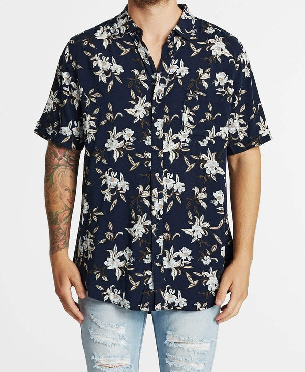 Industrie The Bloom Short Sleeve Shirt Navy