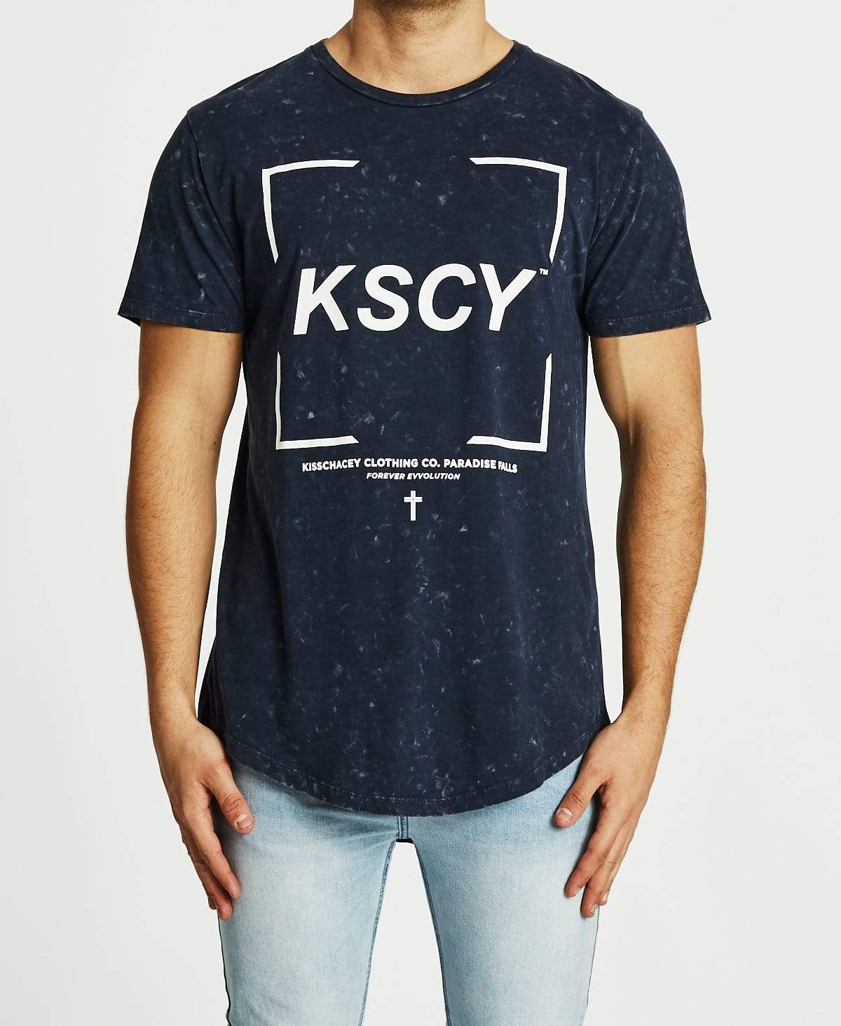 Kiss Chacey Endings Dual Curve T-Shirt Acid Navy