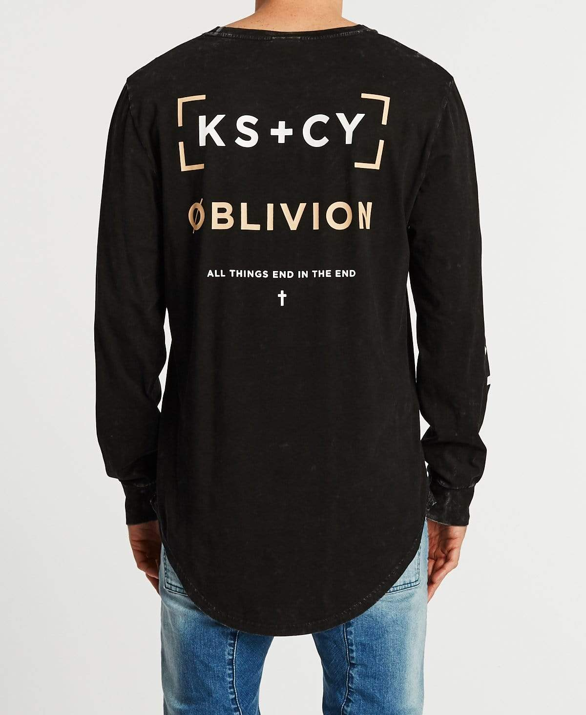 Kiss Chacey Grosvenor Cape Back Long Sleeve T-Shirt Acid Black