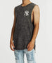 Majestic Mens Scoop Muscle Tee Yankees Pirate Black