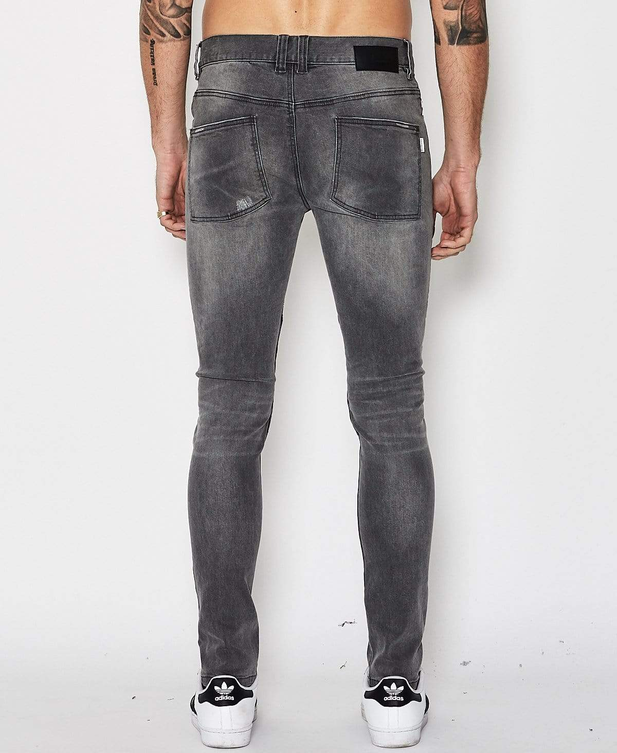 Nena & Pasadena Combination Biker Jeans Grey Trash