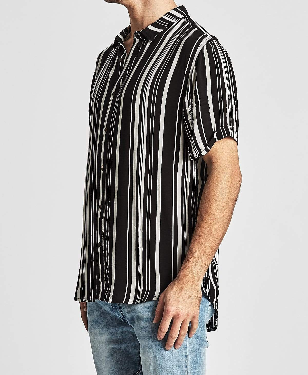 Sushi Radio Off Key Short Sleeve Casual Shirt Black/White Stripe