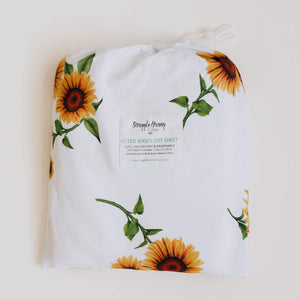 Fitted Jersey Cotton Cot Sheet - Sunflower