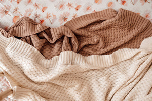 NEW Diamond Knit Baby Blanket - Hazelnut