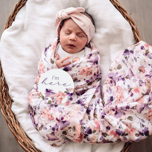 Organic Cotton Muslin Wrap - Blushing Beauty