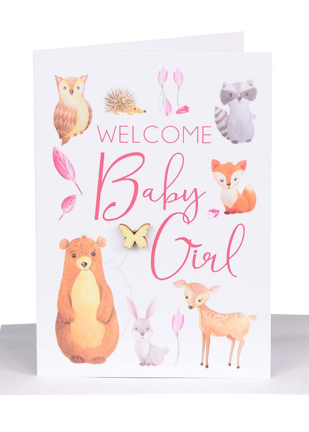 Greeting Card - Welcome Baby Girl Forest Friends